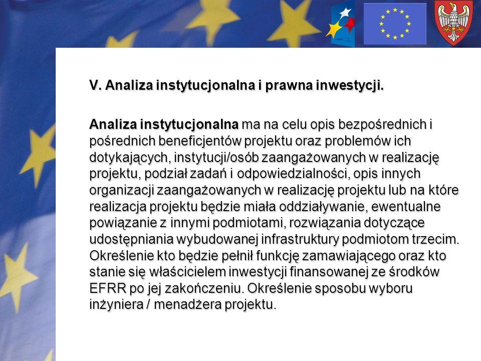 V. Analiza instytucjonalna i prawna inwestycji.