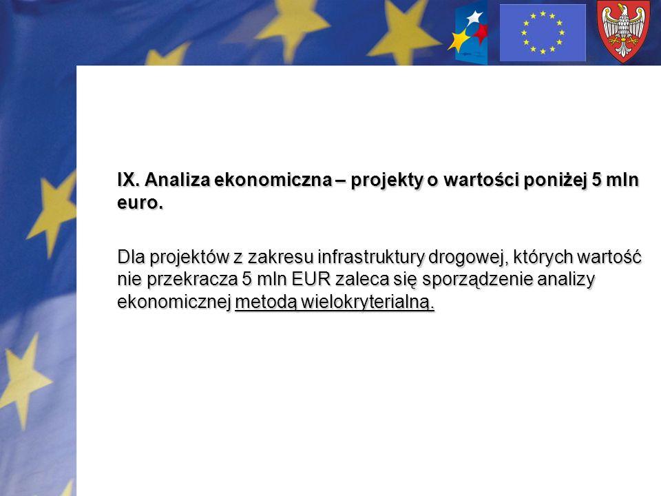 IX. Analiza ekonomiczna – projekty o wartości poniżej 5 mln euro.