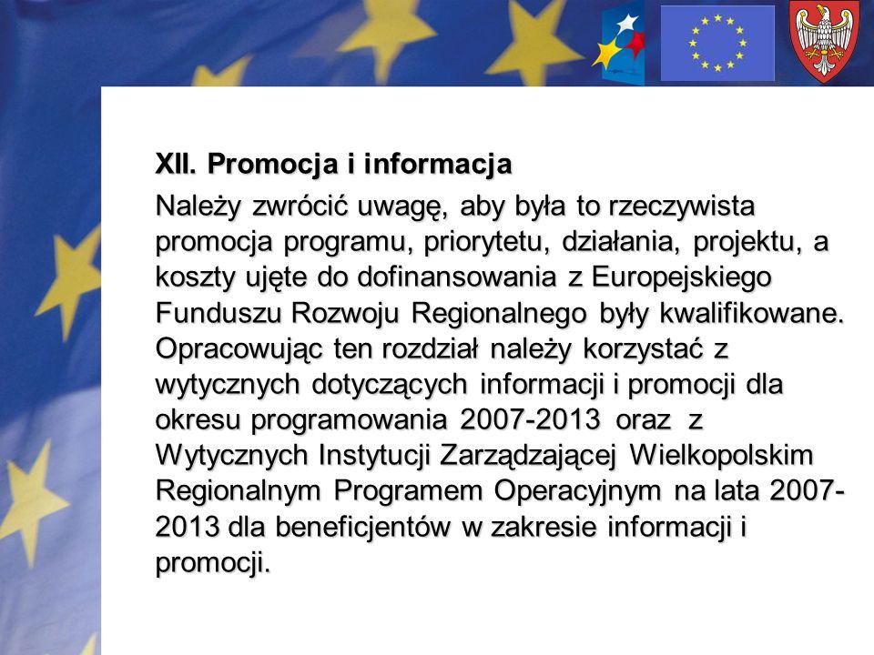 XII. Promocja i informacja