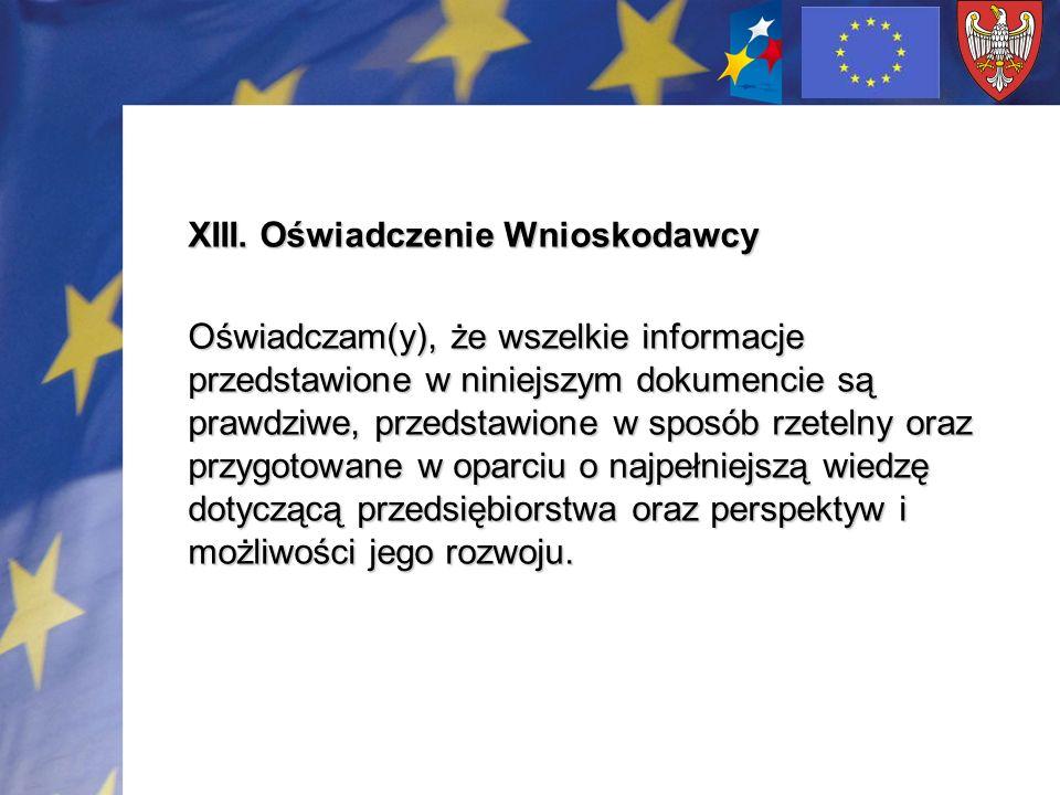 XIII. Oświadczenie Wnioskodawcy