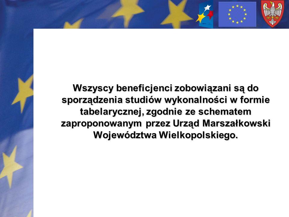Wszyscy beneficjenci zobowiązani są do sporządzenia studiów wykonalności w formie tabelarycznej, zgodnie ze schematem zaproponowanym przez Urząd Marszałkowski Województwa Wielkopolskiego.
