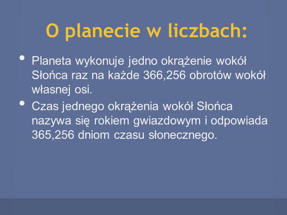 O planecie w liczbach: Planeta wykonuje jedno okrążenie wokół Słońca raz na każde 366,256 obrotów wokół własnej osi.