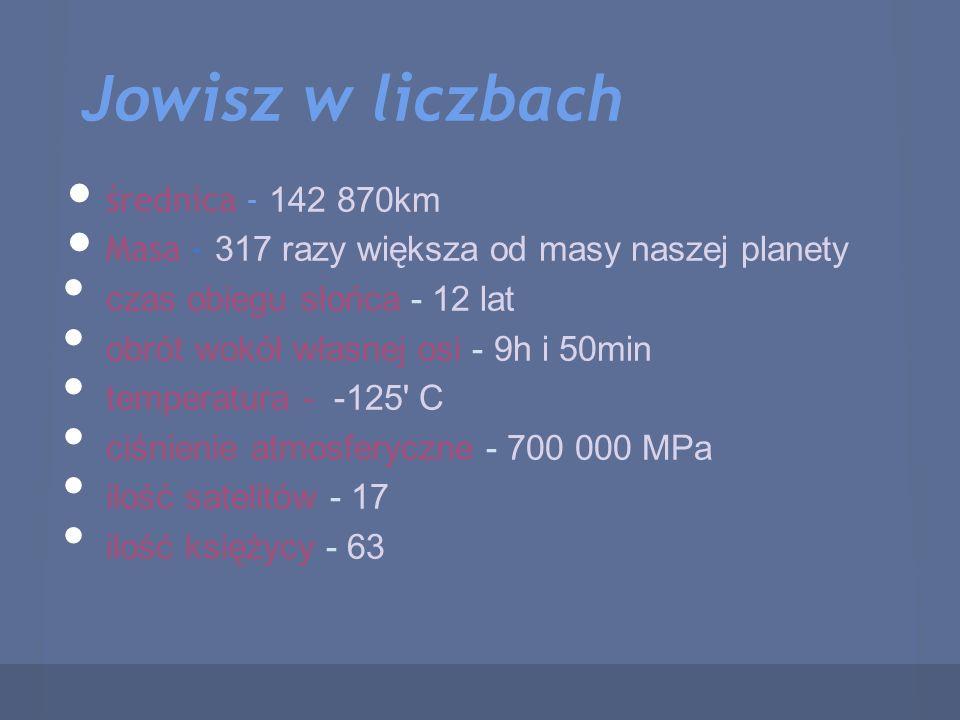 Jowisz w liczbach średnica - 142 870km