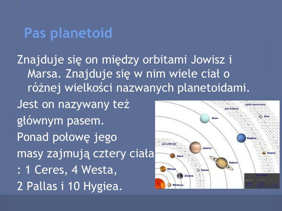 Pas planetoid Znajduje się on między orbitami Jowisz i Marsa. Znajduje się w nim wiele ciał o różnej wielkości nazwanych planetoidami.