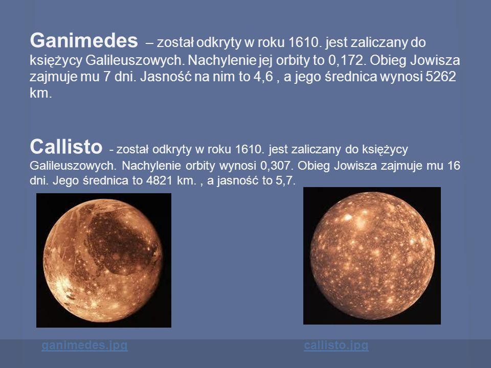 Ganimedes – został odkryty w roku 1610