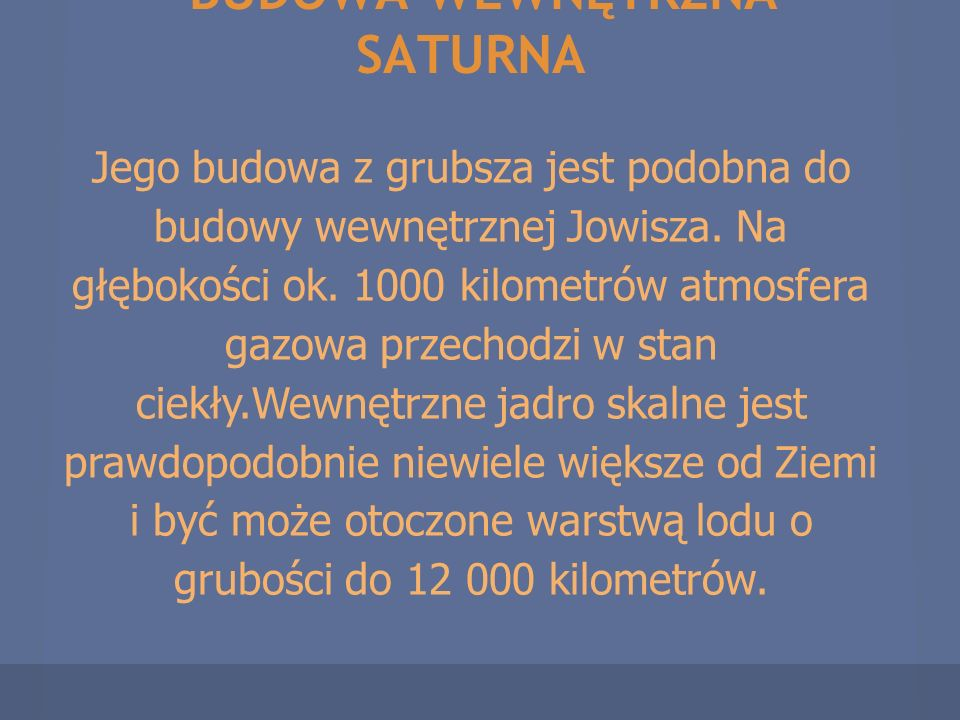BUDOWA WEWNĘTRZNA SATURNA