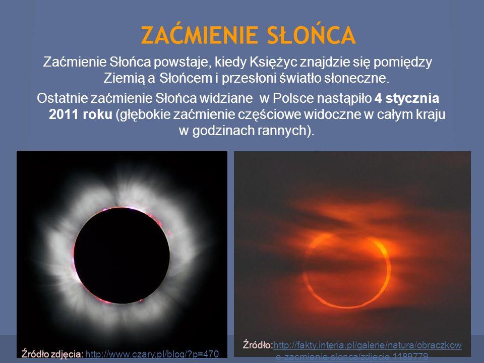 ZAĆMIENIE SŁOŃCA Zaćmienie Słońca powstaje, kiedy Księżyc znajdzie się pomiędzy Ziemią a Słońcem i przesłoni światło słoneczne.