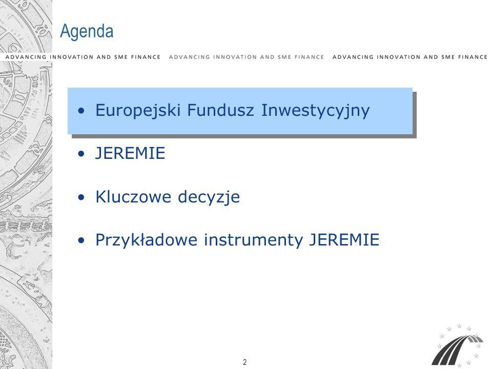 Agenda Europejski Fundusz Inwestycyjny JEREMIE Kluczowe decyzje