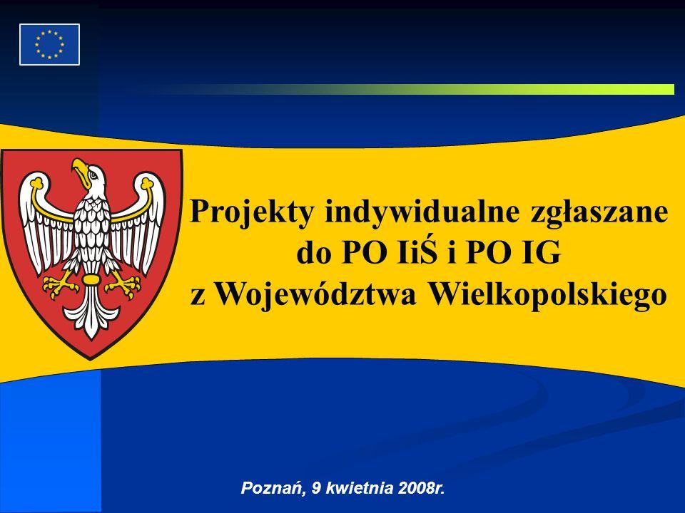 Projekty indywidualne zgłaszane do PO IiŚ i PO IG z Województwa Wielkopolskiego