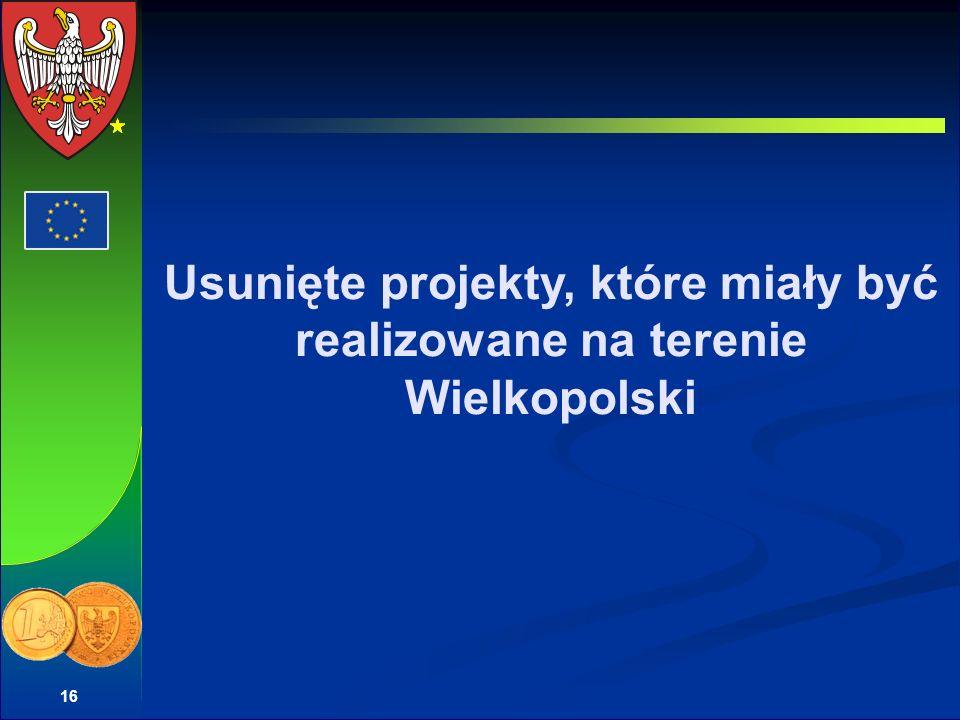 Usunięte projekty, które miały być realizowane na terenie Wielkopolski