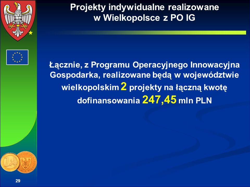Projekty indywidualne realizowane w Wielkopolsce z PO IG