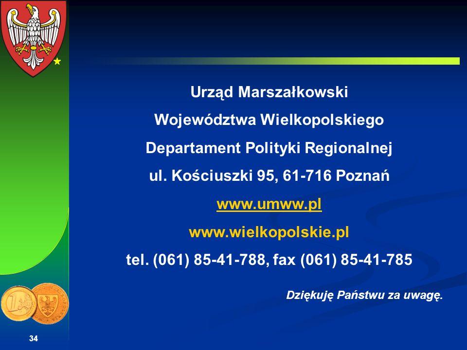 Województwa Wielkopolskiego Departament Polityki Regionalnej