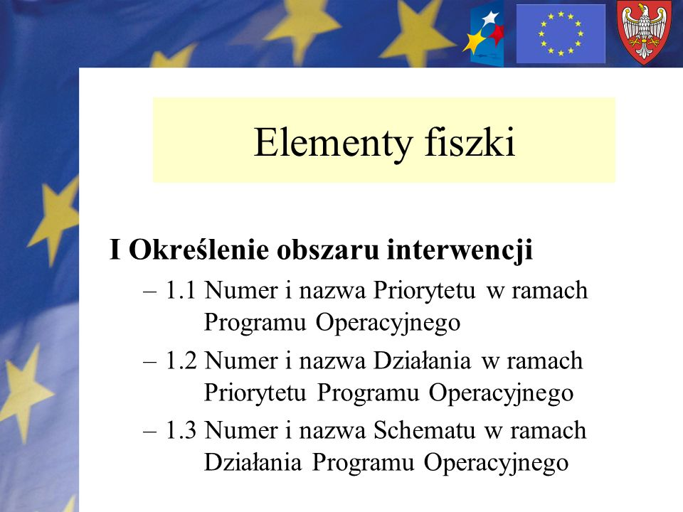 Elementy fiszki I Określenie obszaru interwencji