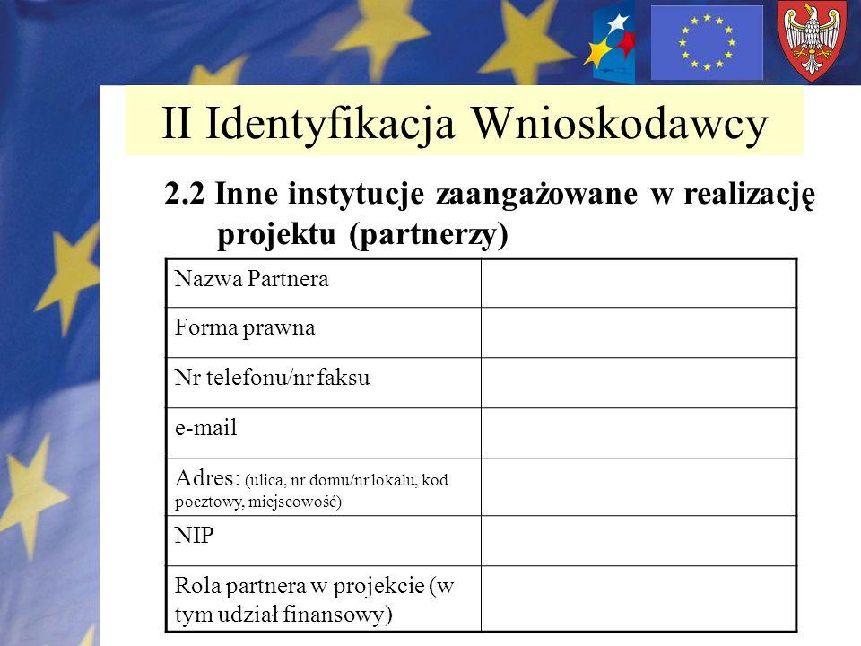 II Identyfikacja Wnioskodawcy