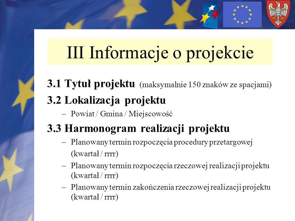 III Informacje o projekcie