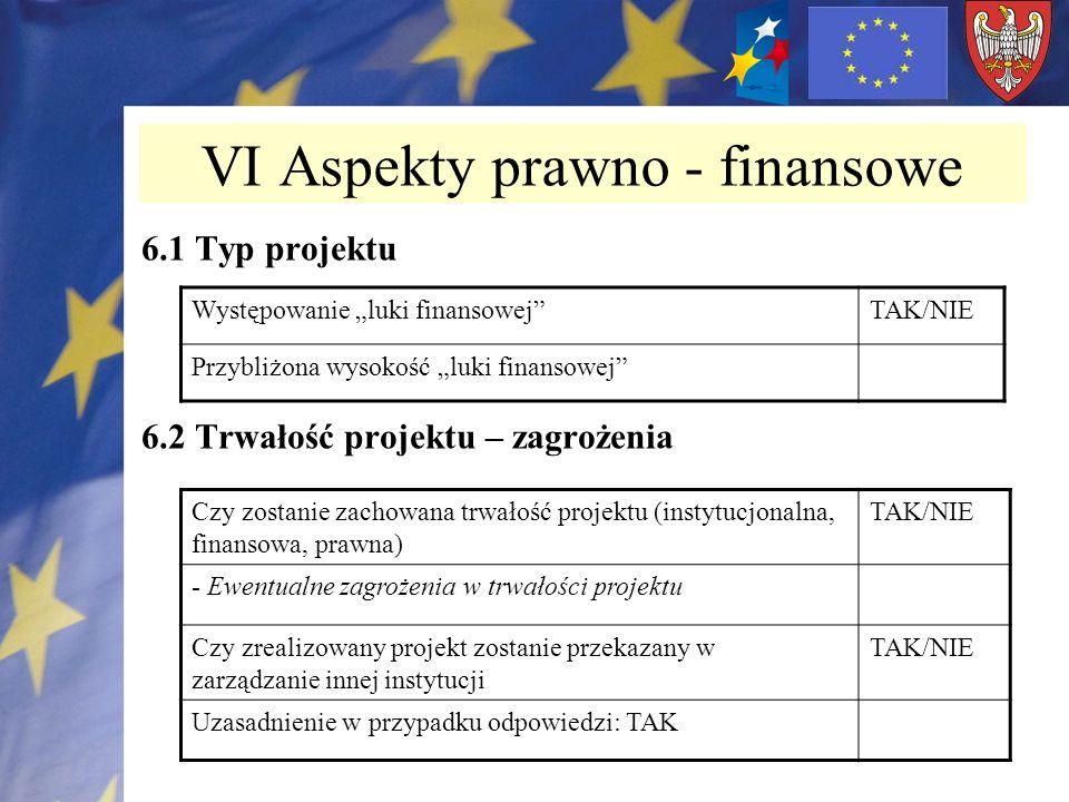 VI Aspekty prawno - finansowe