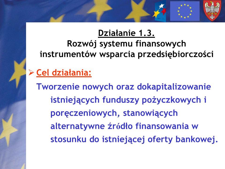 Działanie 1.3. Rozwój systemu finansowych instrumentów wsparcia przedsiębiorczości