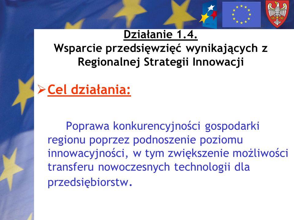 Działanie 1.4. Wsparcie przedsięwzięć wynikających z Regionalnej Strategii Innowacji