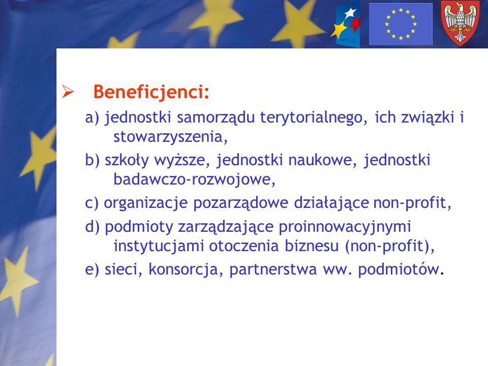 Beneficjenci: a) jednostki samorządu terytorialnego, ich związki i stowarzyszenia,