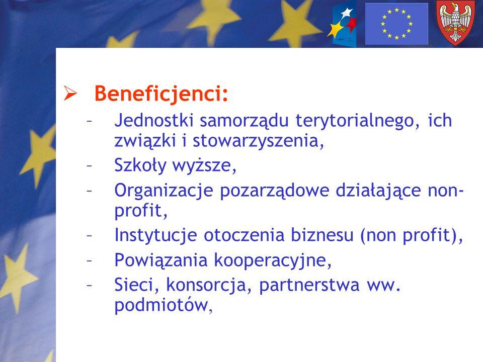 Beneficjenci:Jednostki samorządu terytorialnego, ich związki i stowarzyszenia, Szkoły wyższe, Organizacje pozarządowe działające non-profit,