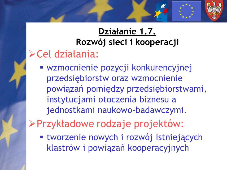 Działanie 1.7. Rozwój sieci i kooperacji