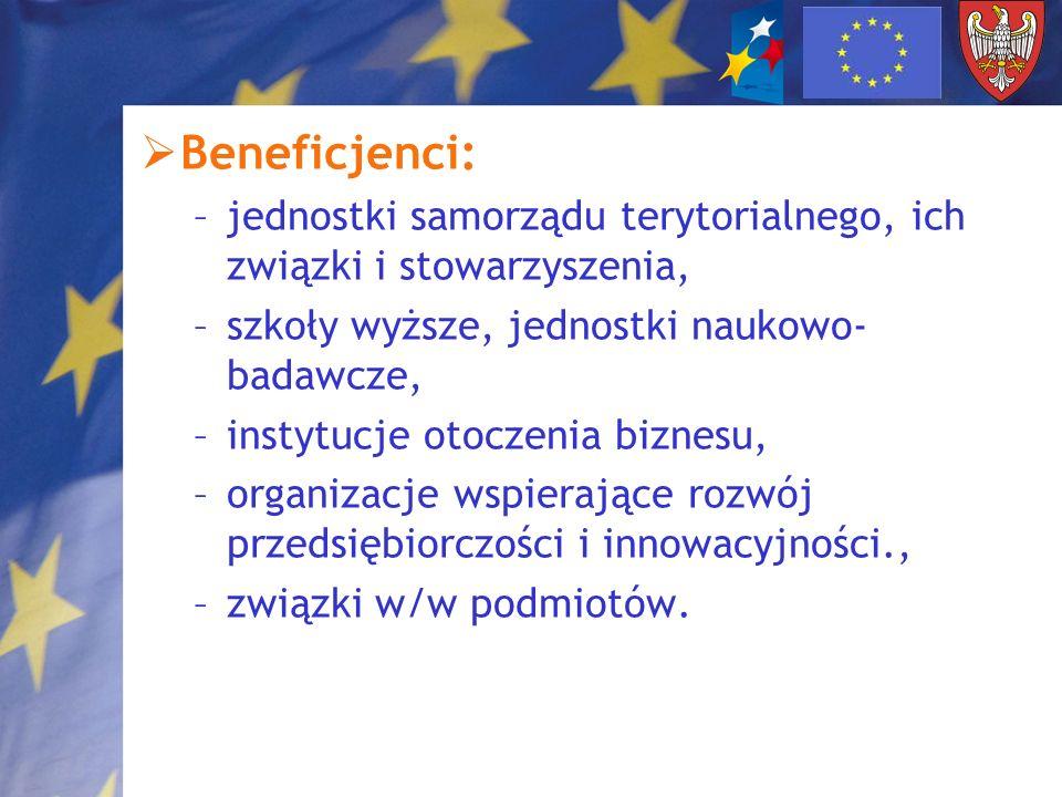 Beneficjenci:jednostki samorządu terytorialnego, ich związki i stowarzyszenia, szkoły wyższe, jednostki naukowo-badawcze,