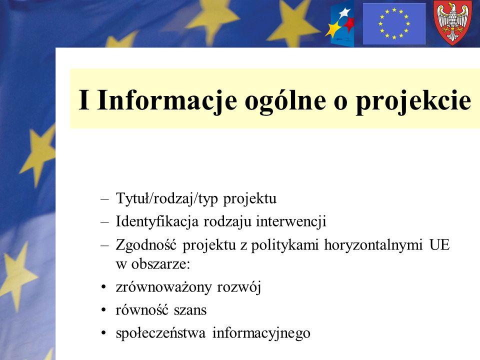 I Informacje ogólne o projekcie