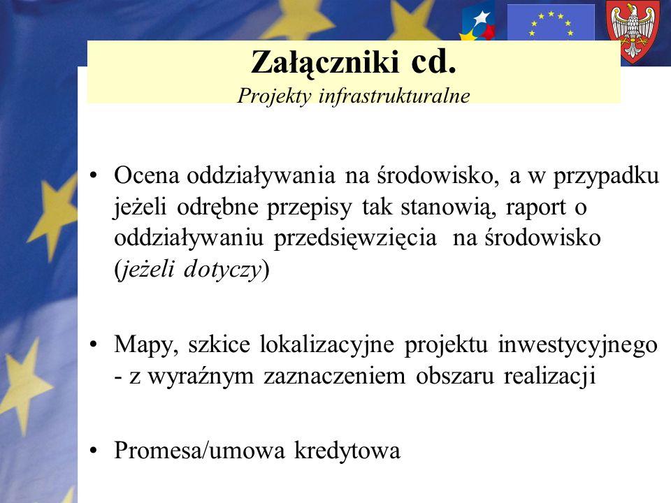 Załączniki cd. Projekty infrastrukturalne
