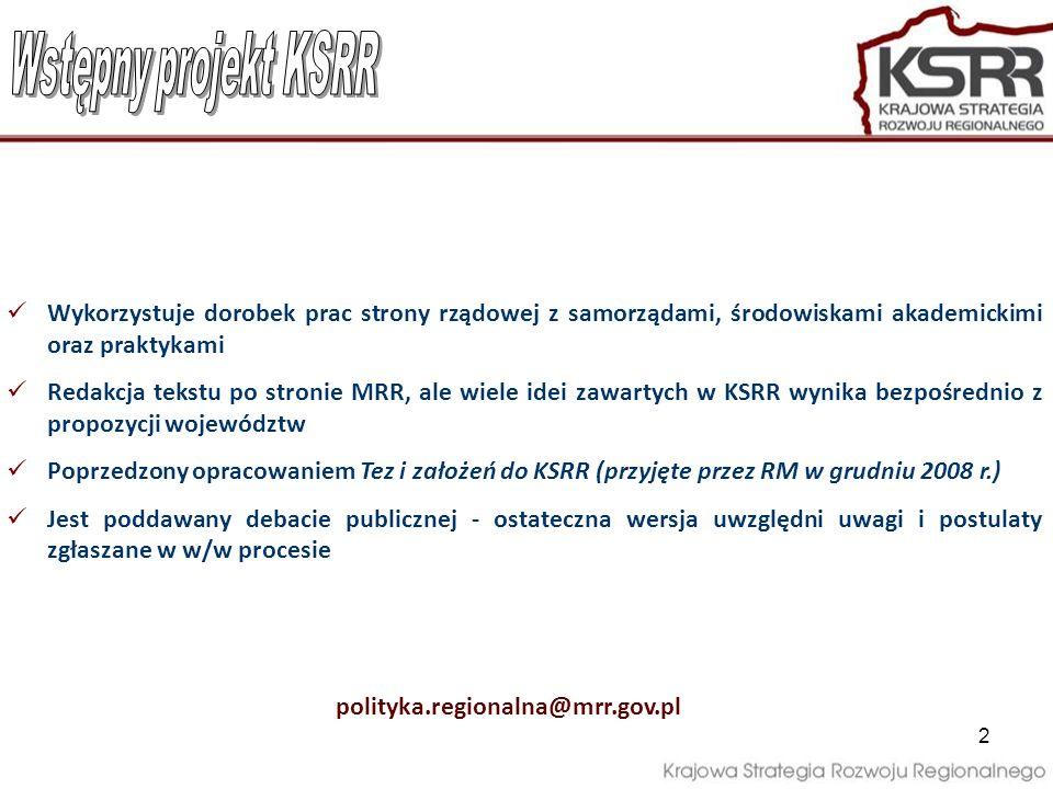 Wstępny projekt KSRR Wykorzystuje dorobek prac strony rządowej z samorządami, środowiskami akademickimi oraz praktykami.