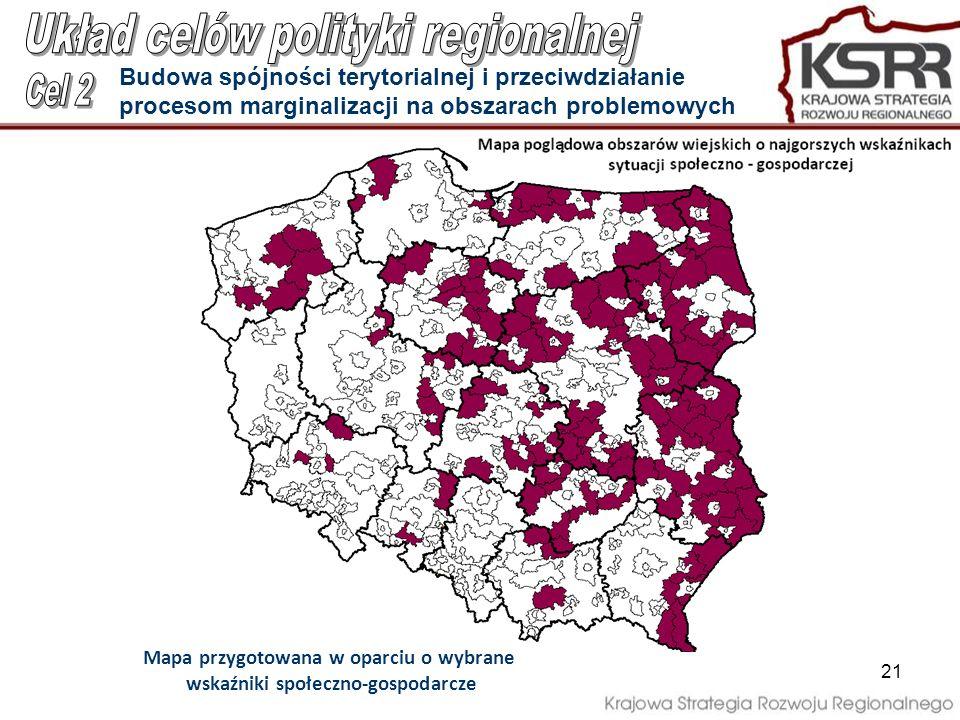 Mapa przygotowana w oparciu o wybrane wskaźniki społeczno-gospodarcze