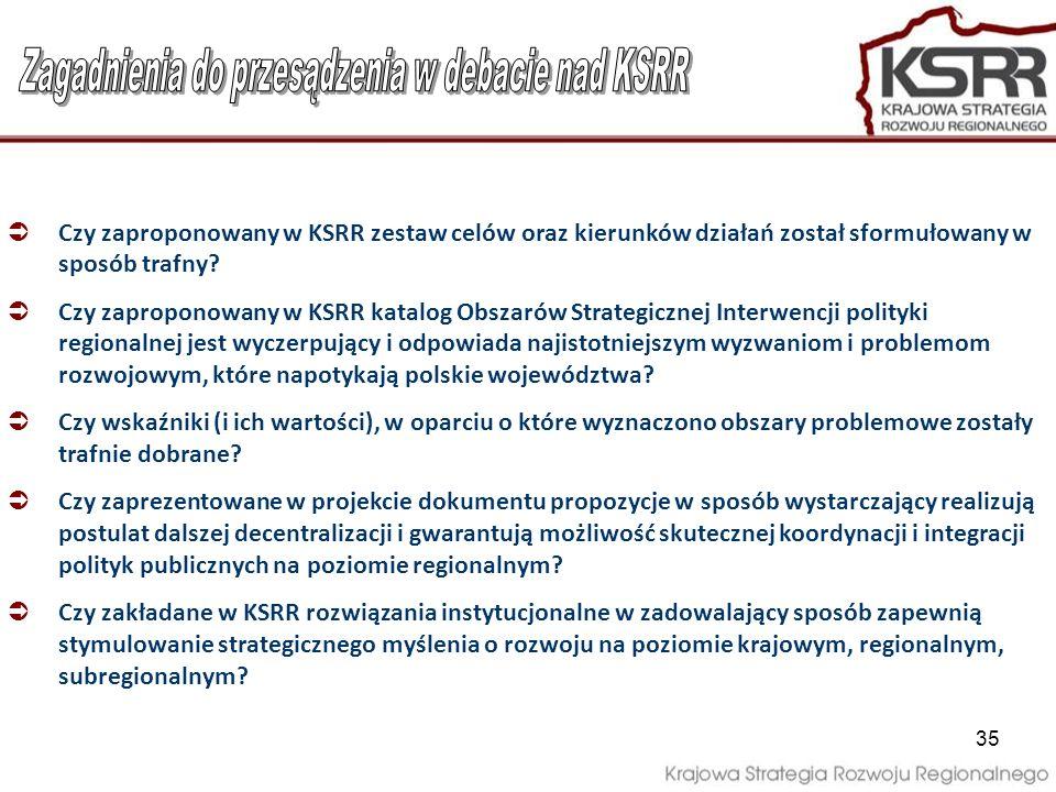 Zagadnienia do przesądzenia w debacie nad KSRR