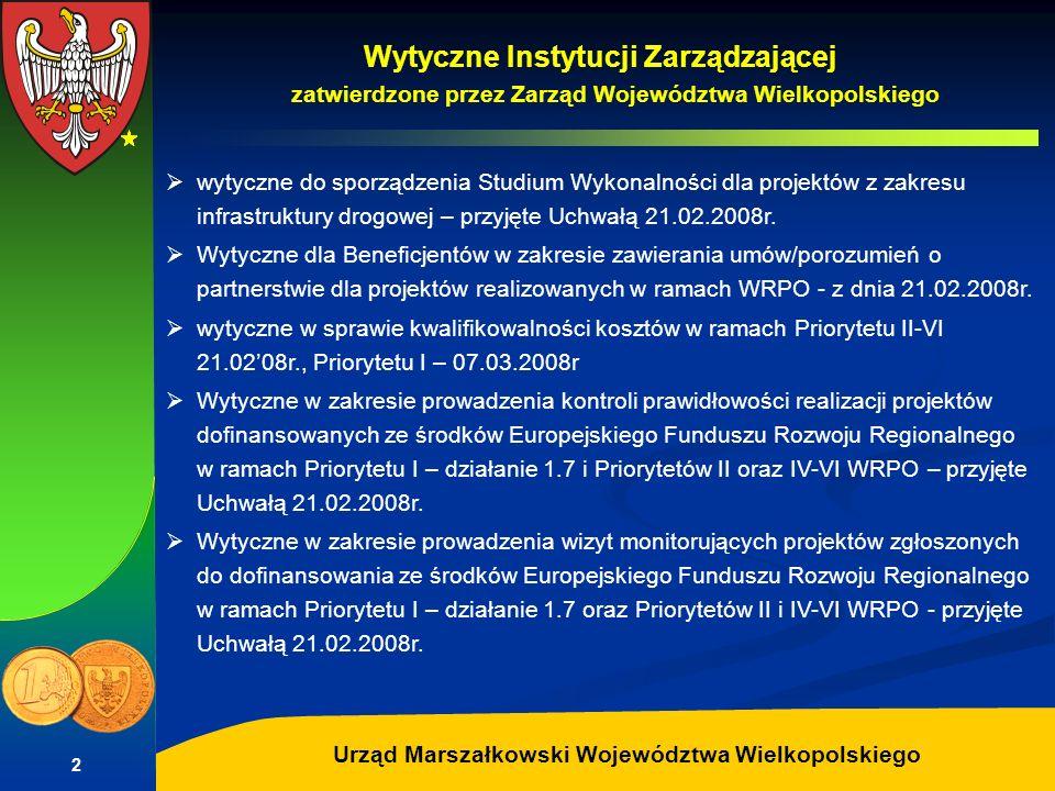 Wytyczne Instytucji Zarządzającej zatwierdzone przez Zarząd Województwa Wielkopolskiego