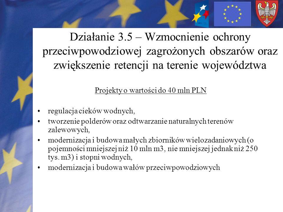 Projekty o wartości do 40 mln PLN