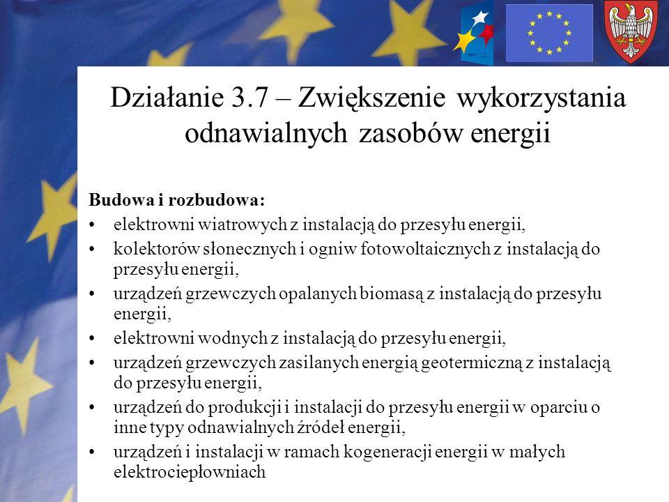 Działanie 3.7 – Zwiększenie wykorzystania odnawialnych zasobów energii