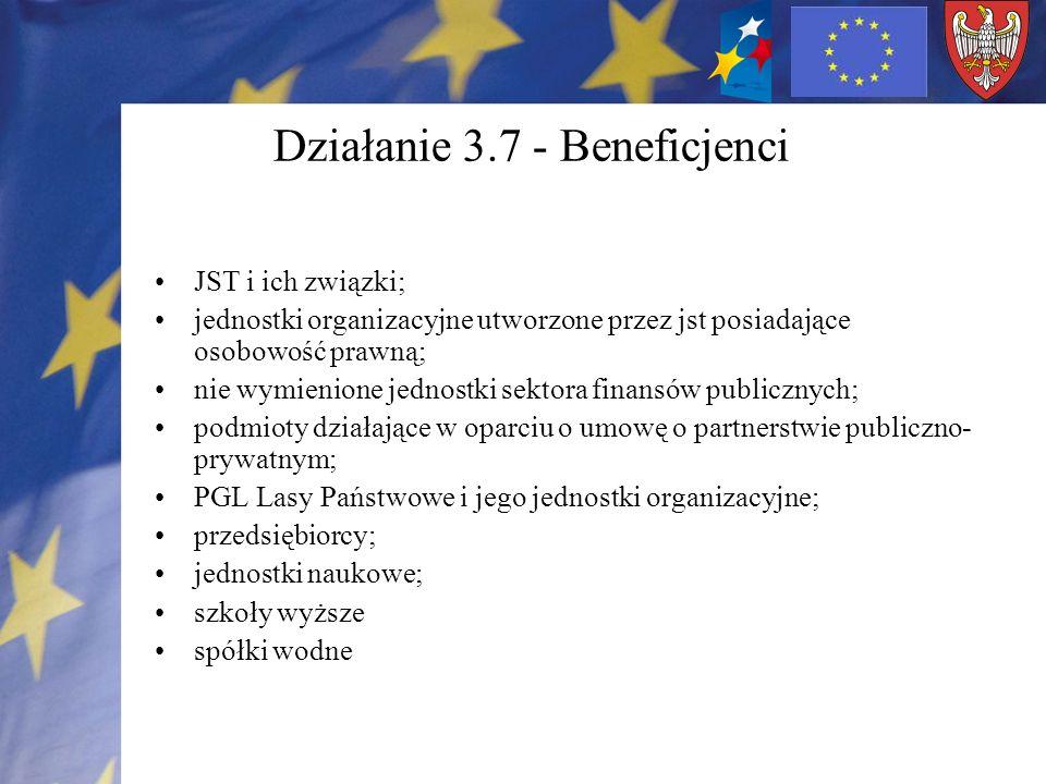 Działanie 3.7 - Beneficjenci