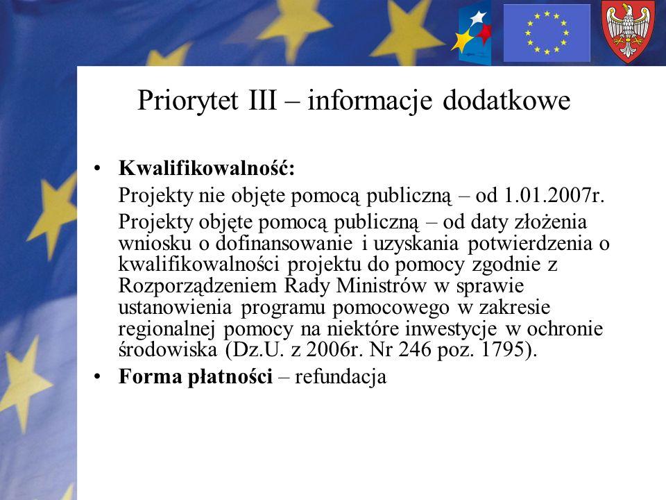 Priorytet III – informacje dodatkowe