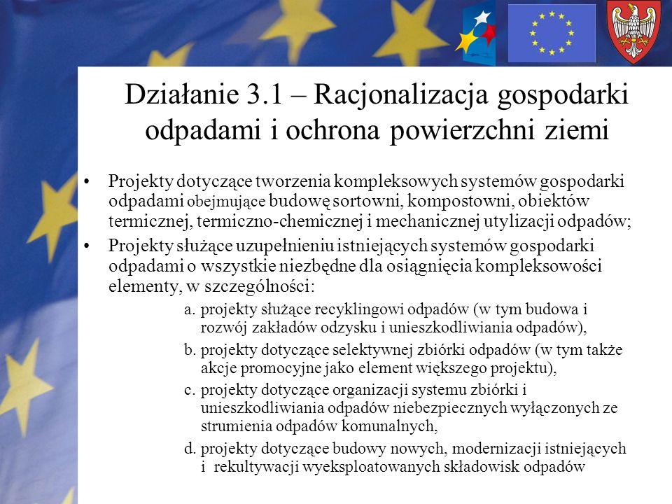Działanie 3.1 – Racjonalizacja gospodarki odpadami i ochrona powierzchni ziemi
