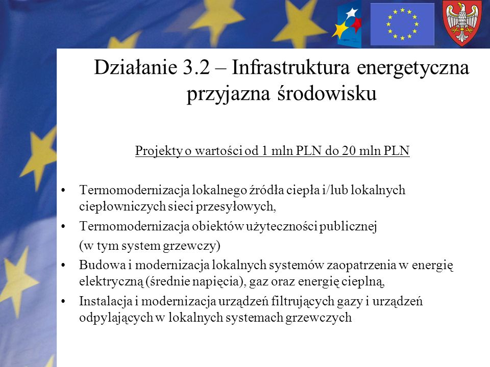Działanie 3.2 – Infrastruktura energetyczna przyjazna środowisku