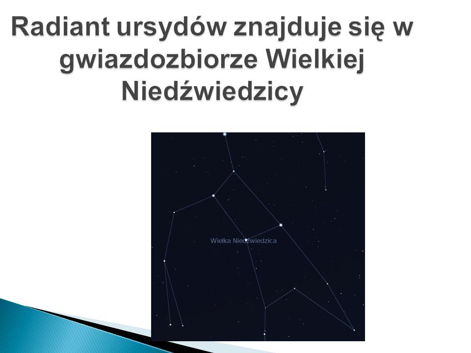 Radiant ursydów znajduje się w gwiazdozbiorze Wielkiej Niedźwiedzicy