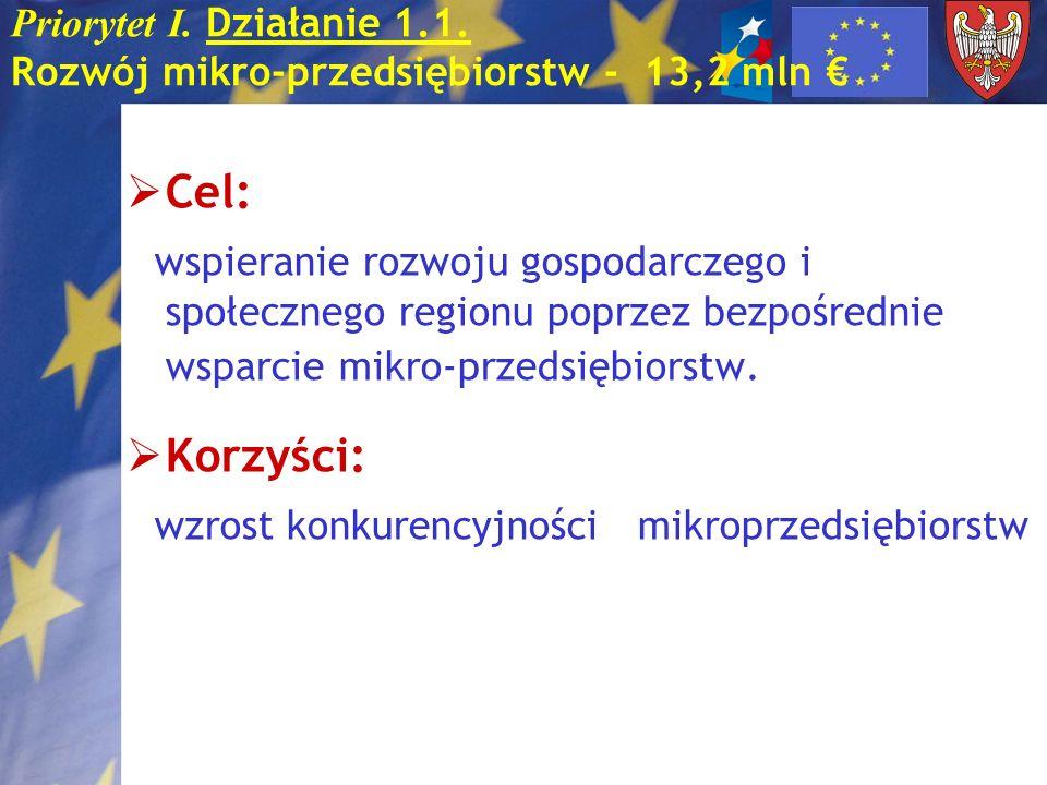 Priorytet I. Działanie 1.1. Rozwój mikro-przedsiębiorstw - 13,2 mln €