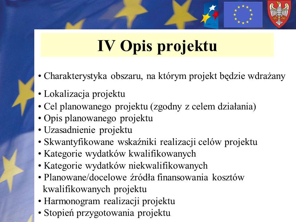 IV Opis projektu Charakterystyka obszaru, na którym projekt będzie wdrażany. Lokalizacja projektu.