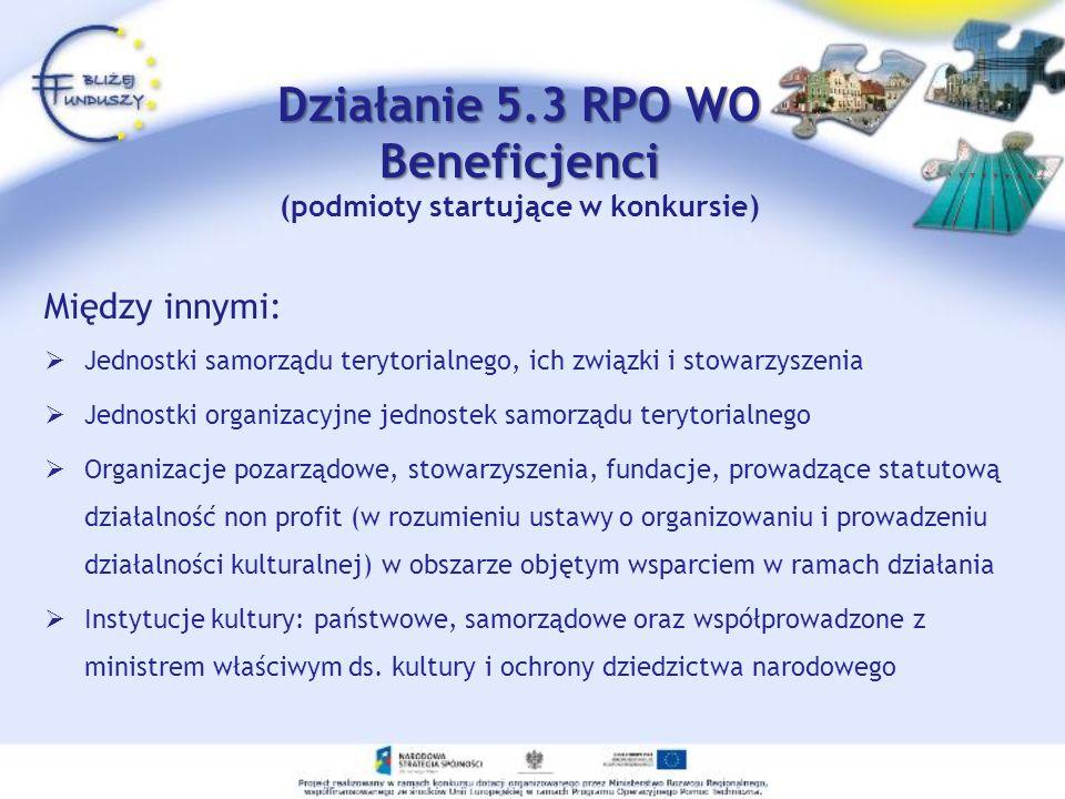 Działanie 5.3 RPO WO Beneficjenci (podmioty startujące w konkursie)