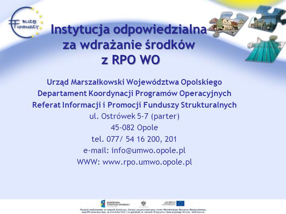 Instytucja odpowiedzialna za wdrażanie środków z RPO WO