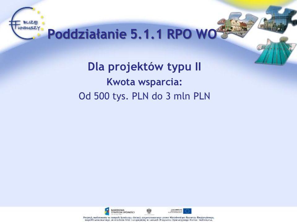 Poddziałanie 5.1.1 RPO WO Dla projektów typu II Kwota wsparcia: