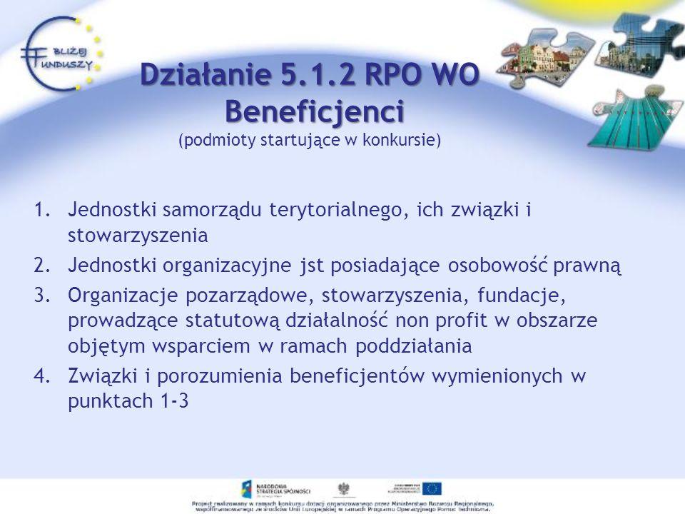 Działanie 5.1.2 RPO WO Beneficjenci (podmioty startujące w konkursie)