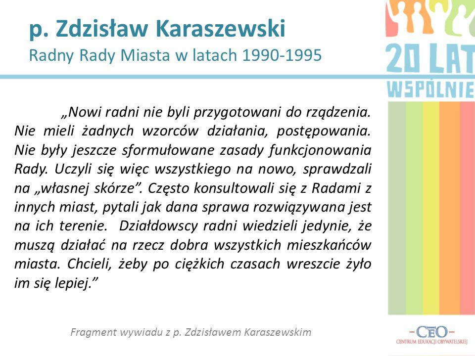 Fragment wywiadu z p. Zdzisławem Karaszewskim