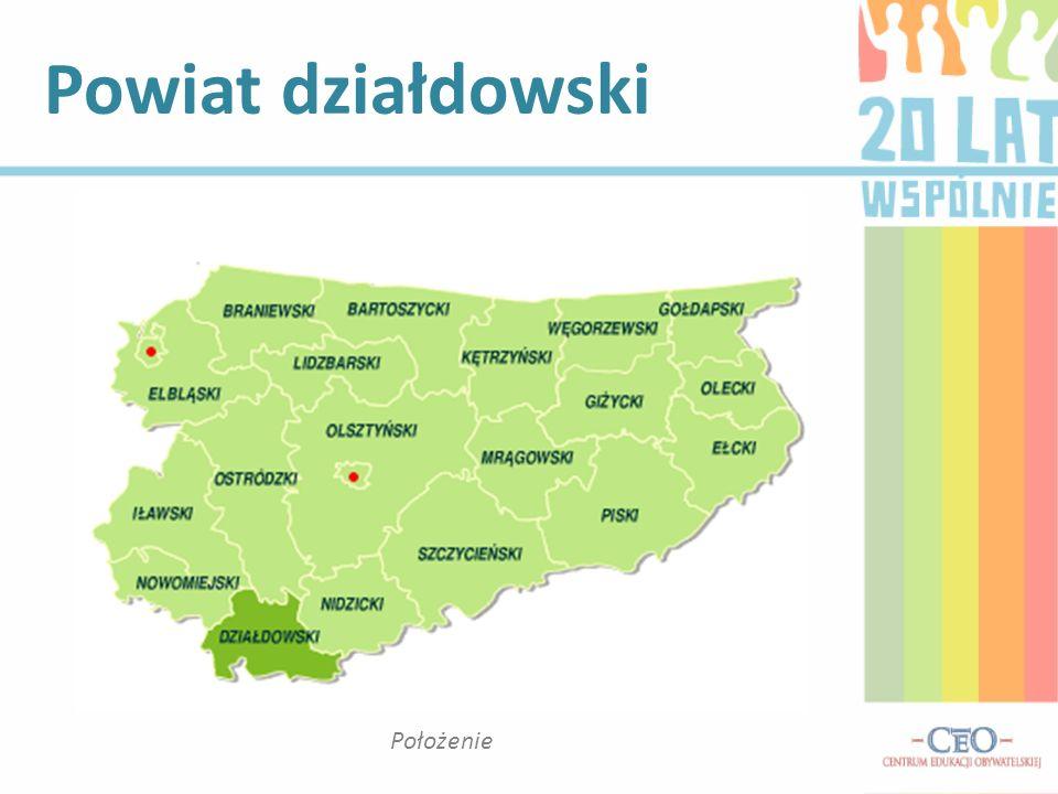 Powiat działdowski Położenie
