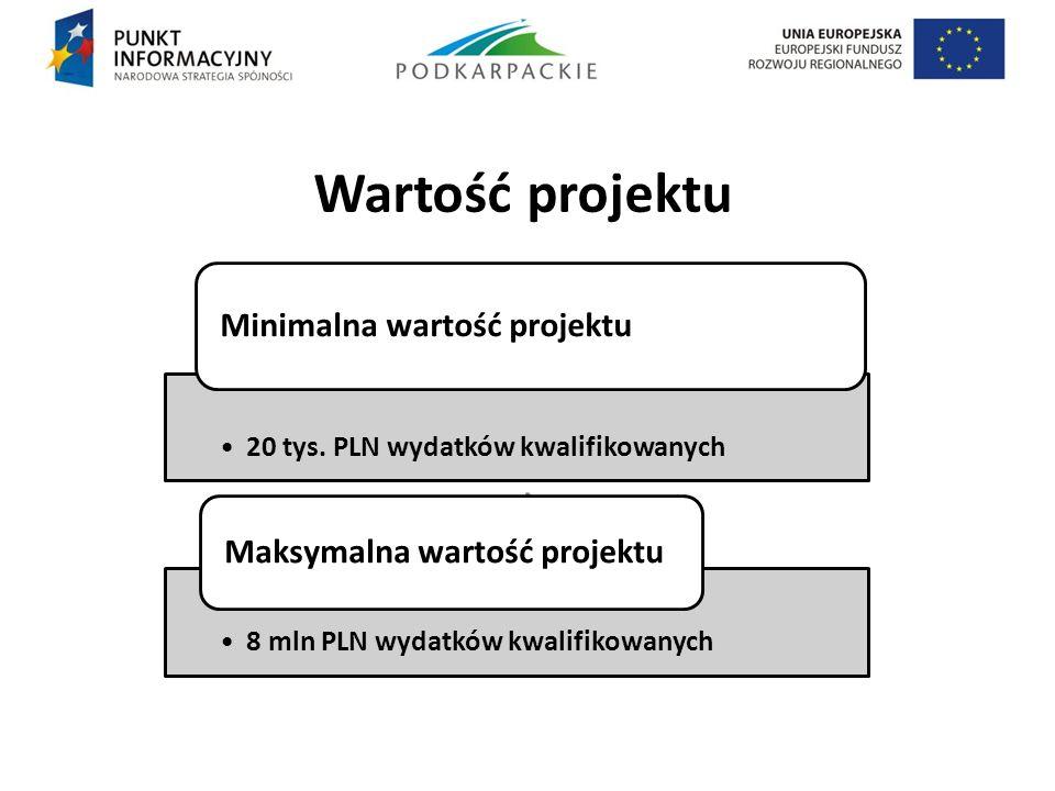 Wartość projektu . 20 tys. PLN wydatków kwalifikowanych