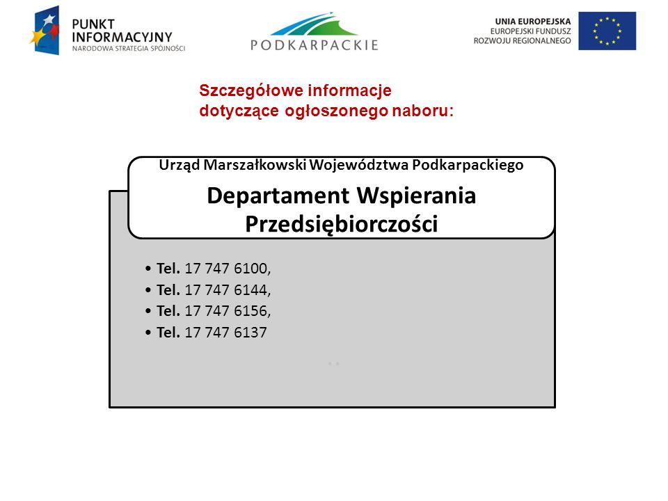 .. Departament Wspierania Przedsiębiorczości Szczegółowe informacje