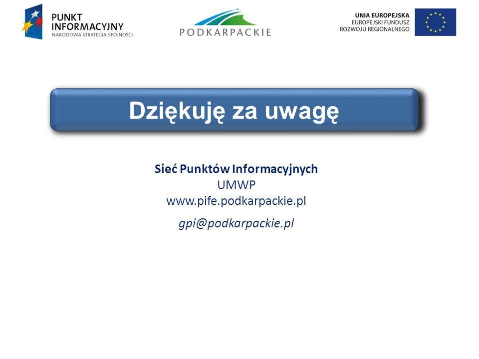 Sieć Punktów Informacyjnych UMWP www.pife.podkarpackie.pl